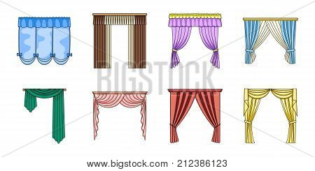 Different kinds of curtains icons in set collection for design. Curtains and lambrequins vector symbol stock  illustration.