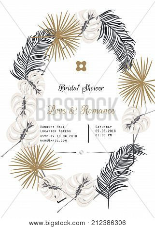 Bridal shower vector template design. Gold and black tropic leaves decor, silver frames wedding invitation card.