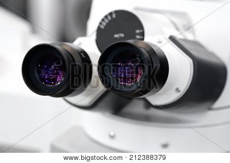 Microscope close-up. Professional medicine Microscope close-up, biotechnology microbiology technology laboratory.