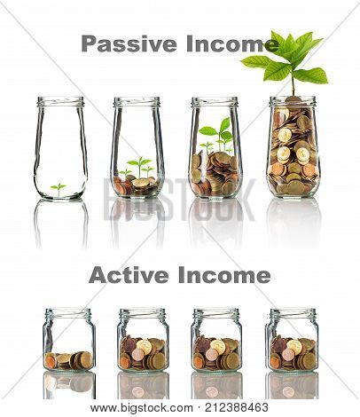 Active and Passive income concept of Gold coins and seed in clear bottle with text on white background Business investment growth concept, 3D illustration