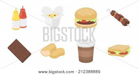 Fast food icons in set collection for design.Food from semi-finished products vector symbol stock  illustration.