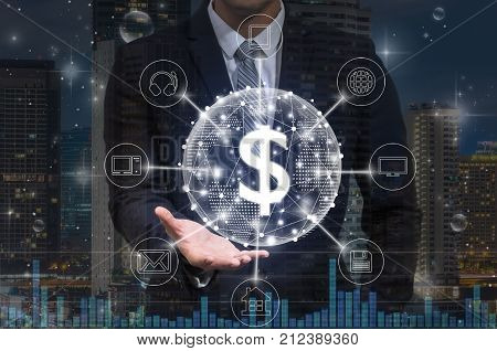 Businessman hand holding the dollar currency text financial technology or FINTECH connection with omni channel over the modern building background Showing the cryptocurrency or digital money, 3D illustration