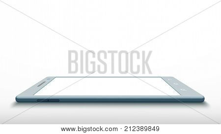 Smartphone with a white screen. Technology communication background. Stock vector illustration.
