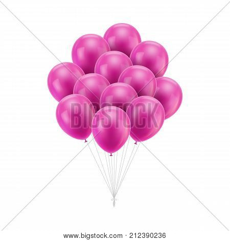 Bunch pink balloons tied. A lot of festive flying, helium-filled gasbags with ropes tied into one knot. Vector isolated illustration on white background