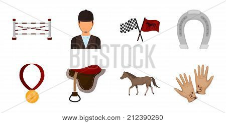 Hippodrome and horse icons in set collection for design. Horse Racing and Equipment vector symbol stock  illustration.