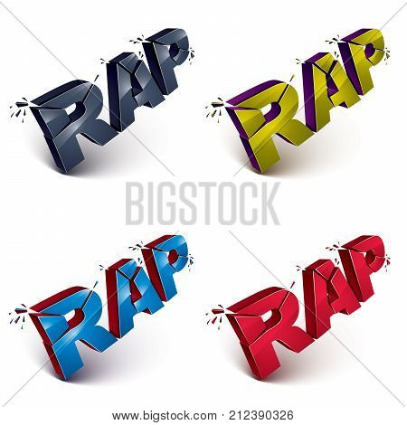 Set of dimensional shattered green vector rap words contemporary musical style design elements in explosion effect. 3d wrecked letters in different colors.