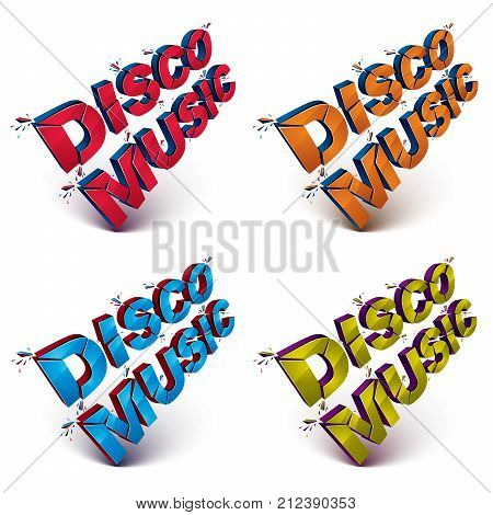 Collection of 3d disco music words broken into pieces demolished vector design element. Shattered art stylish inscription in different colors