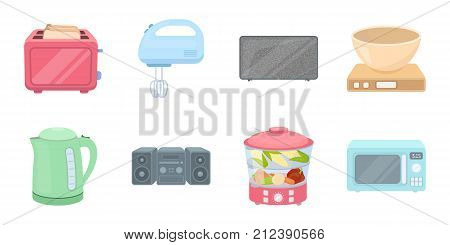 Types of household appliances icons in set collection for design.Kitchen equipment vector symbol stock  illustration.