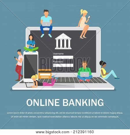 Mobile banking concept illustration of people using laptop and mobile smart phone for online banking. Flat design.