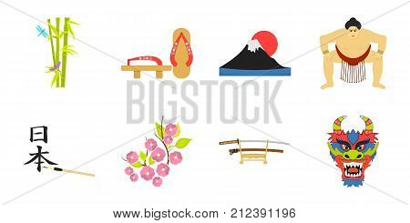 Country Japan icons in set collection for design.Japan and landmark vector symbol stock  illustration.