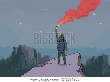 Tourist with the flare on a mountain is looking for help. Backpacker on a rock. Torch in hand. Mountain landscape in the twilight. Sky full of stars. Horisontal vector illustration cartoon character.
