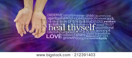 Heal Thyself Word Cloud - female hands in cupped position on a deep  blue and magenta swishing energy background  with a white HEAL THYSELF word cloud to the right