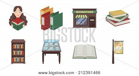 Library and bookstore icons in set collection for design. Books and furnishings vector symbol stock  illustration.