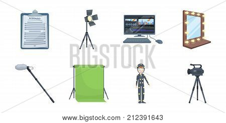 Making a movie icons in set collection for design. Attributes and Equipment vector symbol stock  illustration.