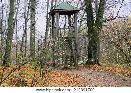 A wooden observation tower in the park in the estate of Count Leo Tolstoy in Yasnaya Polyana.