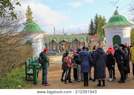 Children's excursion group in the estate of Count Leo Tolstoy in Yasnaya Polyana in October 2017.