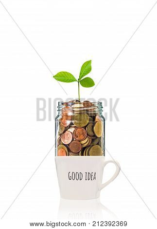 Gold coins and seed in clear bottle over the glass with text good idea on white background Business investment growth concept, 3D illustration