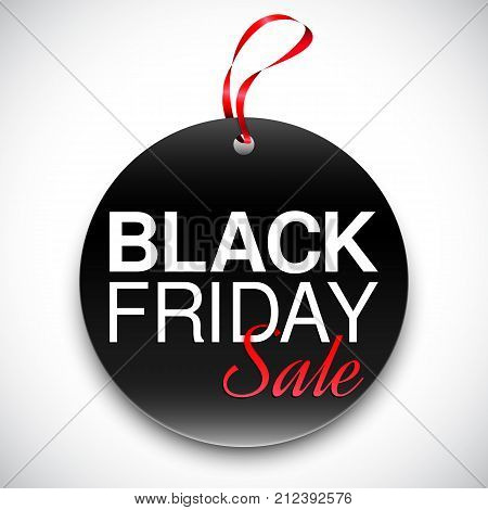 Round tag or label with black friday sale anouncement