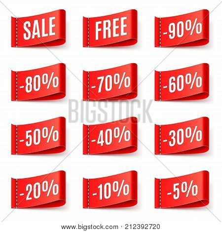 Red sale tags with different discount values isolated on white background