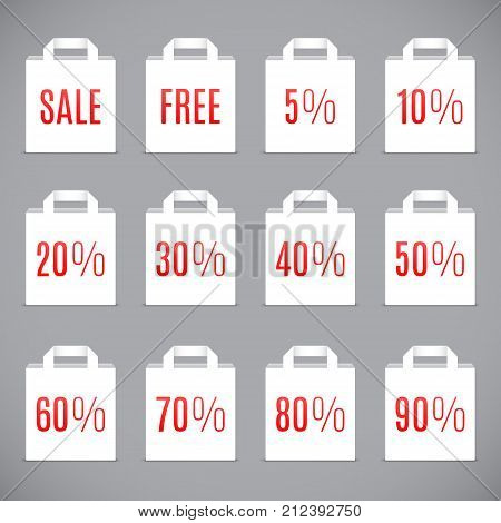 White shopping bags with different sale discount values