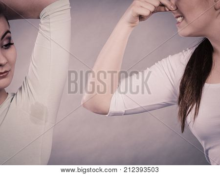 Woman Having Wet Armpit Her Friend Smelling Stink
