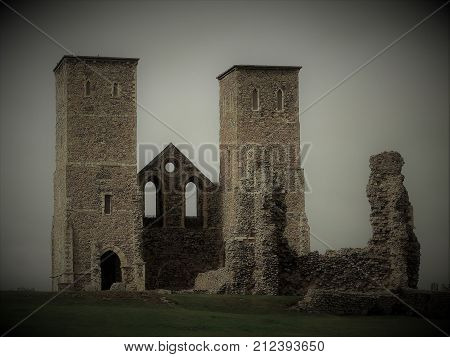 An eerie view of the Roman remains at Reculver on the Kent coast