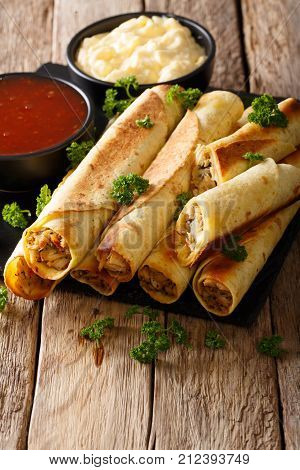 Mexican Taquitos With Chicken And Sauces Close-up. Vertical