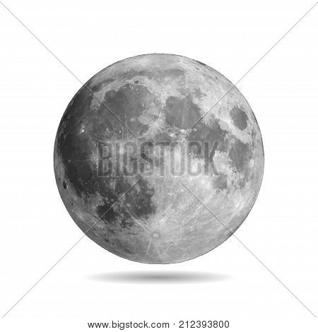 Realistic full moon with shadow vector eps10. Vector illustration. Elements of this vector furnished by NASA
