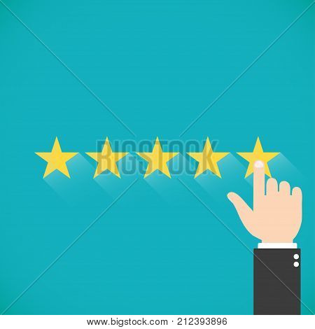Five gold stars with hand Vector illustration. Finger presses the star. Assessment for web sites