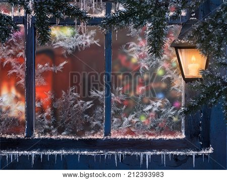 Beautiful Christmas window. Snow lights a lantern icicles. Through the window you can see the room with the fireplace and the Christmas tree