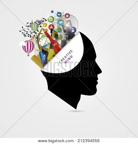 Human brain. Creative mind concept. Genius. Vector illustration