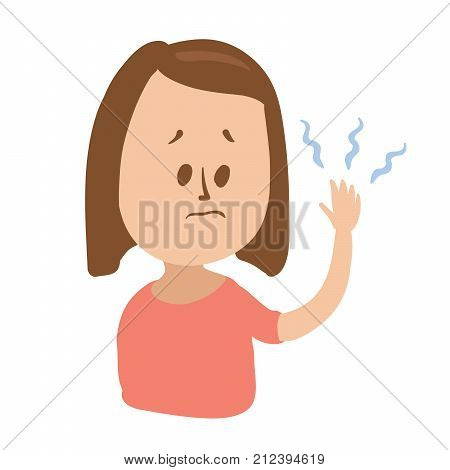 Puzzled girl looks at her tingling hand with imaginary blue waves. Isolated flat illustration on white backgroud. Cartoon vector image.