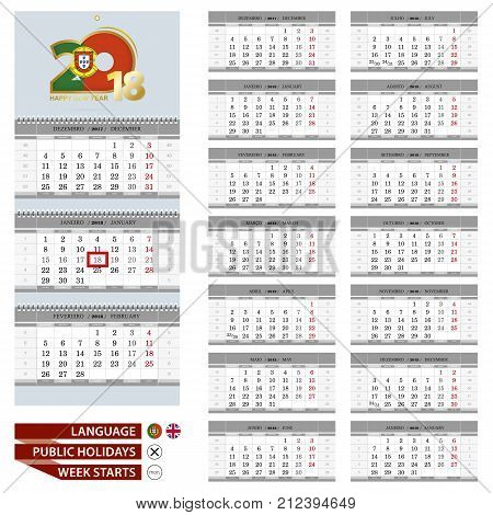 Portuguese Wall calendar planner vector template for 2018 year. Portuguese and English language. Week starts from Monday.