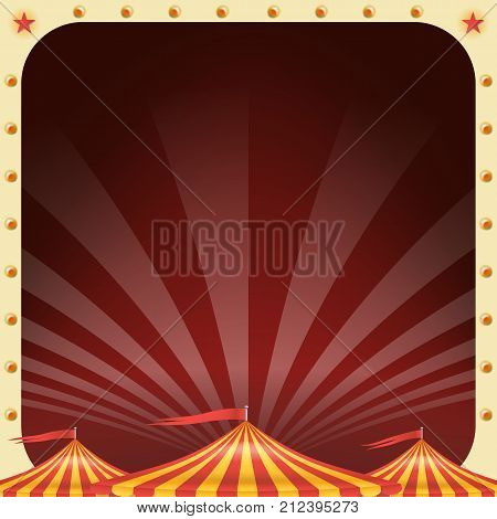 Circus Poster Banner Vector. Vintage Magic Show. Classic Big Top. Marquee. Arts Festival. Illustration