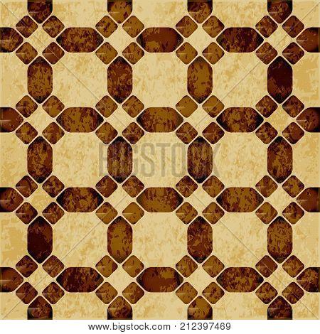 Retro Brown Watercolor Texture Grunge Seamless Background Round Corner Octagon Cross Geometry