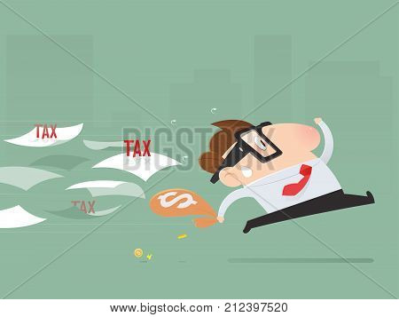 Cartoon businessman avoid from paying taxes Tax return Vector illustration
