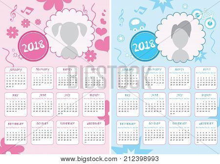 Kids Calendar of New Year 2018 - Two Versions for Girls and Boys - EPS Vector Template