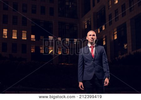 One Young Adult Man Walking Businessman Suit, Formal Wear, Outdoors, Night Evening Dark Portrait, Mo