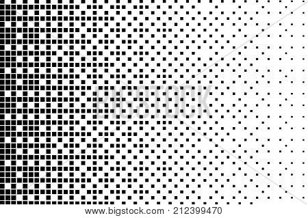 Halftone background. Abstract geometric pattern with small squares. Design element for web banners, posters, cards, wallpapers, backdrops, panels Black and white color Vector illustration