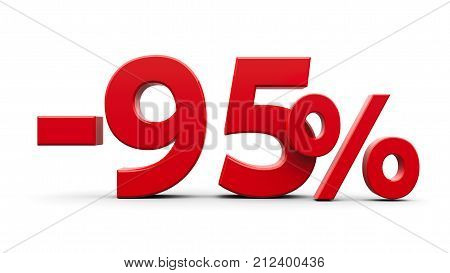Red minus ninety five percent sign isolated on white background three-dimensional rendering 3D illustration