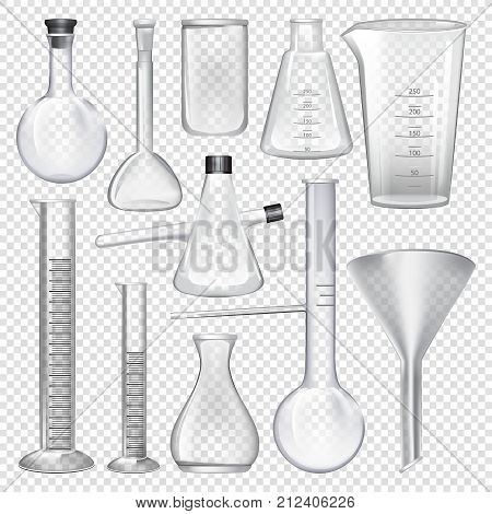 Laboratory glassware instruments. Equipment for chemical lab. Beaker and flask, chemical glass transparent for lab. Vector illustration