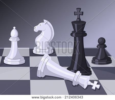 Final of chess game. Checkmate on chess board. Business concept chess game vector, checkmate on championship illustration