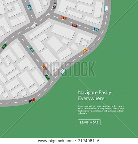Vector city map with cars aerial top view from above illustration. City road map top, street urban town with transport