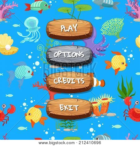 Vector cartoon style wooden enabled and disabled buttons with text for game design on sealife texture background. Illustration of wood gui play menu poster