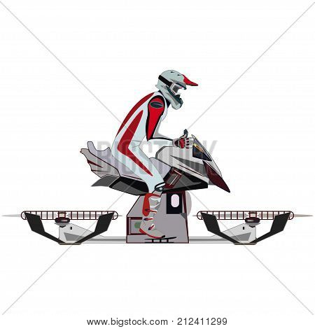 Vector illustration of hover bike rider in motorcycle riding suit and protective gear boots, gloves, helmet and goggles riding hovering motorcycle, hovercraft. Flat style design.