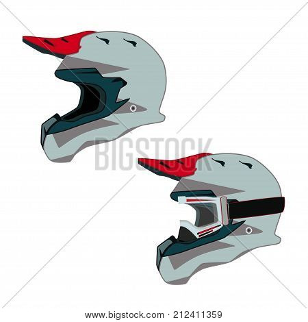 Vector side view illustration of race motorcycle, hovering motorcycle rider protective gear. Helmet single and helmet with goggles icons isolated on white background. Flat style design.