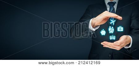 Insurance concept. Businessman with protective gesture and insurance icons: car, travel, family and life, financial and health insurance.