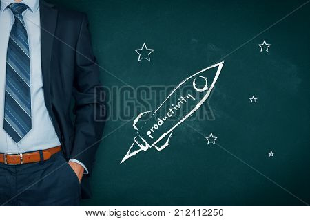 Productivity improvement concept. Businessman help to speedily increase productivity represented by spaceship.