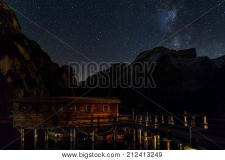 Starry night over Lake Prags South Tyrol Italy