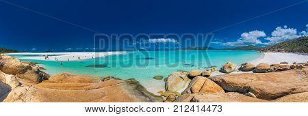 WHITSUNDAYS, AUS - SEPT 22 2017: Panorama of the Whitehaven Beach in the Whitsunday Islands, Queensland, Australia